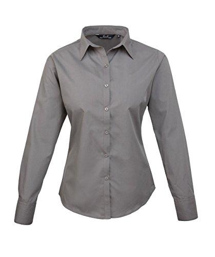 pw300Ladies Poplin Long Sleeve Camiseta (Blusa/Manga Larga) gris oscuro