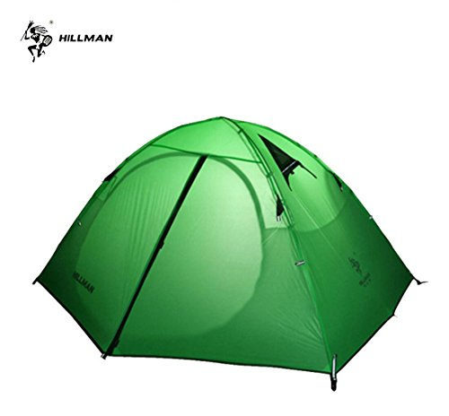 TAOYA Hillman Tent, 2 Person, 3 Season, 20D Double Layer Silicone ,Portable Lightweight Durable Waterproof 8000 mm, Windproof, camping, backpacking, Fishing, Barbecue Tent. (Green)