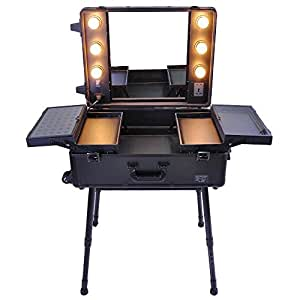 AW Rolling Studio Makeup Artist Cosmetic Case w/ 6x 40W LED Light Bulb Adjustable Leg Mirror Cosmetic Black Train Table