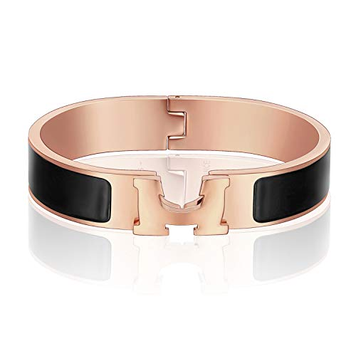12MM H Buckle Bangle Bracelets for Women Rose Gold Black