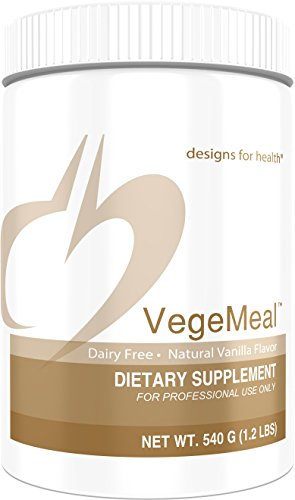 Designs for Health VegeMeal - Vanilla Pea Protein Meal Supplement Powder with 5-MTHF + Creatine (15 Servings / 540g)