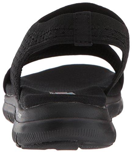 Skechers Cali Frauen Flex Appeal 2.0-Deja Vu Sport Sandale Schwarz Schwarz