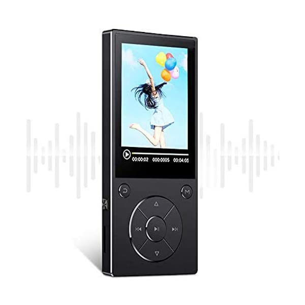 16GB Bluetooth4.1 MP3 Music Player Built-in Speaker with 2.4inch HD Screen, FM Radio, Voice Recorder Functions Metal Body, Support SD Card up to 128GB - Black 5
