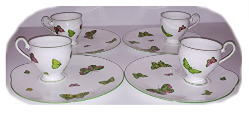 Set of 8 Crown Staffordshire Butterfly Cup & Snack Plates Butterflies China