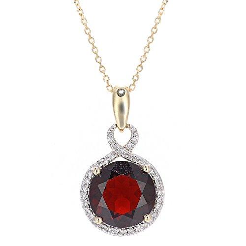 Revoni Bague en or jaune 9carats Diamant et Grenat-Collier Femme-Pendentif Rond
