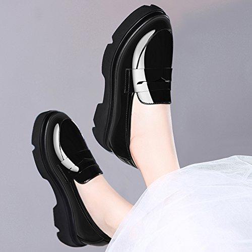 HUAIHAIZ Tacones de Mujer Espesor PU Zapatos de Mujer Tacones Altos Casual y Zapatos de Tacón Zapatos de Noche Black