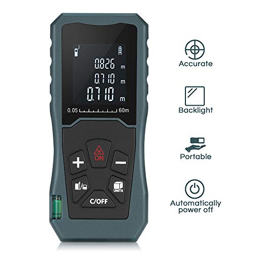 - Digital Laser Distance Meter 197FT/ 60M,InLife Backlit LCD Laser Measure, Laser Measuring Device with Single-distance, Continuous, Area, Volume Measurement and Pythagorean Modes