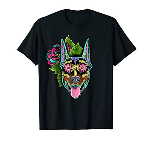 Doberman Pinscher Ears - Mens Doberman Pinscher Cropped Ear - Day of the Dead Sugar Skull 2XL Black