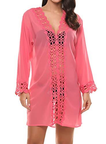 Avidlove Donna Bikini Cover Up Costumi Da Bagno Abito da Mare Copricostume Spiaggia Scollato Chiffon Casual Vestiti Rosa