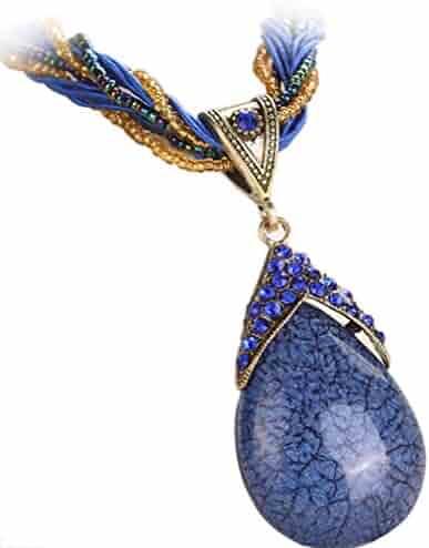 86c6ab8415f0 WYTong Women Rhinestone Amber Gem Jewelry Necklaces Bohemian Pendant Collar  Necklace