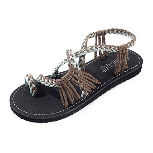- SANDALUP Sandals for Women Summer with Handmade Sole and Braided Strap Brown Green 09