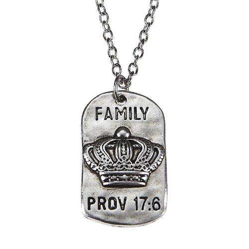 Price comparison product image Family Antique Crown Dog Tags Children's Children are a Crown to the Aged Prov 17:6 by Jewelry Nexus