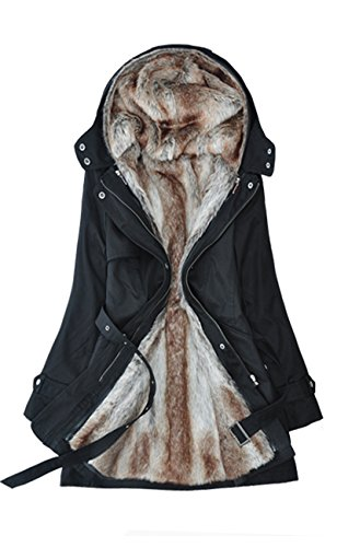 Lingswallow Women Winter Thick Padded Detachable Liner Trench Coat Jacket Black Black US 12-14 ()