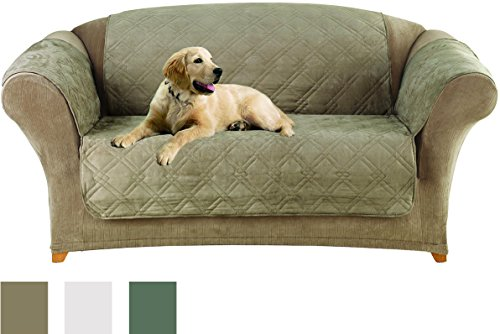 SureFit Microfiber Sofa Pet Throw/Slipcover with Arms, Sea Glass