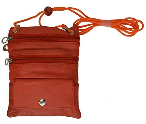 Leather Travel Neck Pouch Holder Passport Id Wallet  Security Bag Pocket ORANGE (Passport Wallet Leather Security)