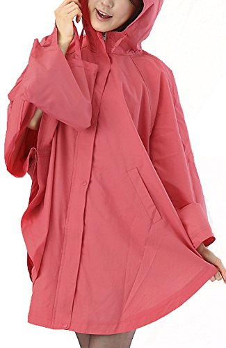 QZUnique Women's Waterproof Packable Rain Jacket Batwing-sleeved ...
