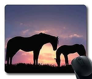 Horses Sunset Silhouette Mouse Pad Desktop Laptop Mousepads Comfortable Office Mouse Pad Mat Cute Gaming Mouse Pad