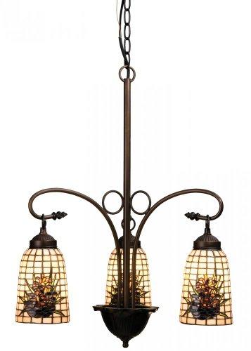 Meyda Tiffany 73989 Pine Barons 3 Light Chandelier, 20.5″ Width