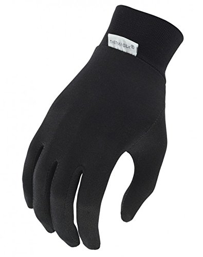 Terramar Kids Thermasilk Ultra-Thin Performance Liner Gloves, Black, Medium (6)