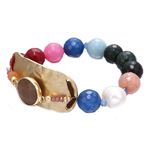 JW Collection Colorful Trendy Minimaliste Handmade Semi Elastic (Red Jade 14kt Bracelet)
