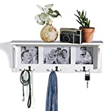 AHDECOR Floating Wall Shelf and Picture Collage Coat Hooks, Entryway Organizer Rack with 6 Metal Hooks (White)