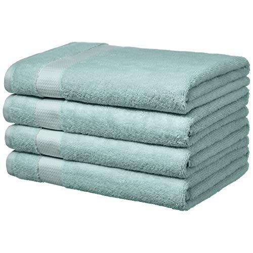 AmazonBasics Everyday Bath Towels, Set of 4, Calm Blue