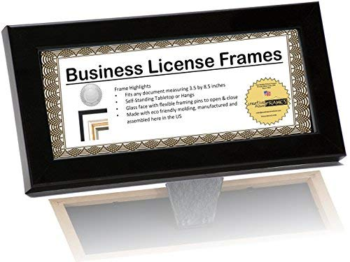CreativePF [DRMM3.5x8.5bk] Black Business License Frame Holds 3.5 by 8.5-inch Self Standing Easel Back with Hanger