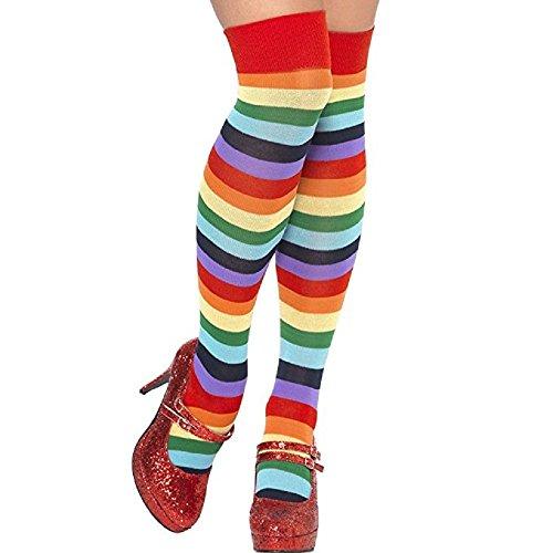 Clown Socks,Dukars Halloween Striped Knee High Socks for Women Men Kid's (Mens Halloween Outfit)