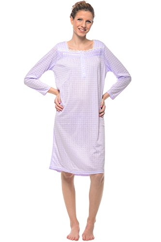 Casual Nights Women's Square Neck Long Sleeve Lace Floral Nightgown - Dot/Purple - X-Large Floral Lace Nightgown