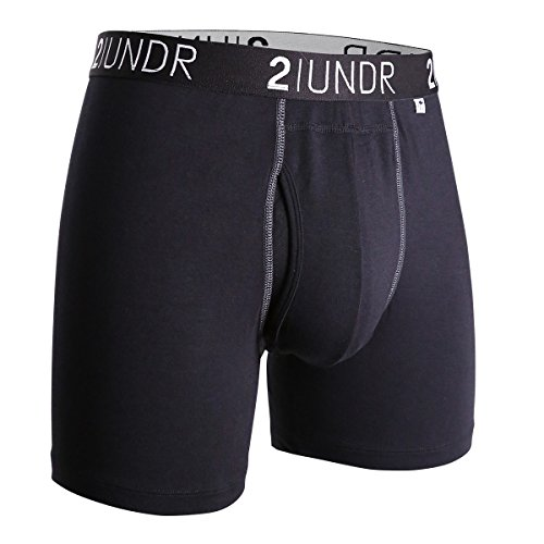 2undr Men's Swingshift Boxers, Black/Grey, Small