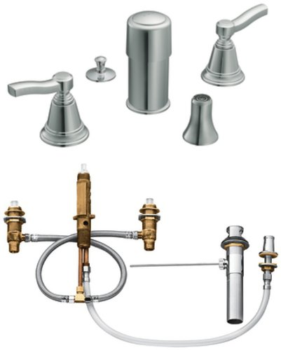 Moen TS5285-9200 Rothbury Two-Handle Bidet Faucet with Valve, Chrome by Moen