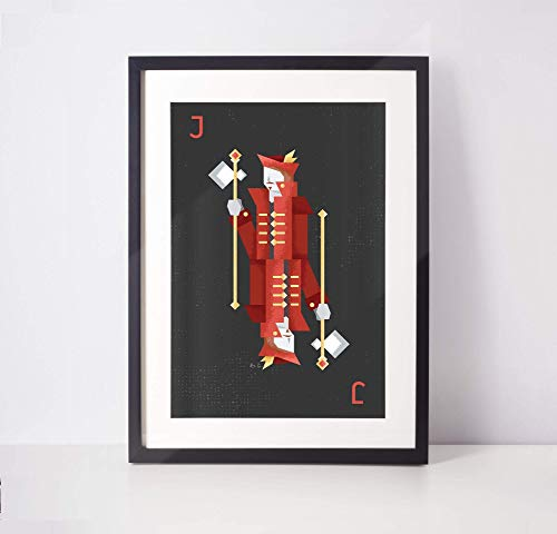 Red Jack Playing Card Art - Roommate Gift - Poker Room Decor - College Student Gift (Unframed)