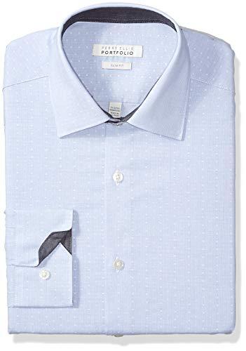 (Perry Ellis Men's Slim Fit Wrinkle Free Dress Shirt, Plum Dobby Stripe, 15 32/33 )