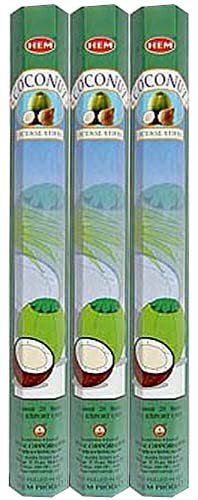 Coconut Incense Sticks - Coconut - Box of Six 20 Gram Tubes - HEM Incense