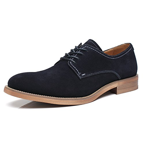 La Milano Suede Lace up Leather Oxfords Classic Comfortable Modern Plain Toe Dress Shoes for ()