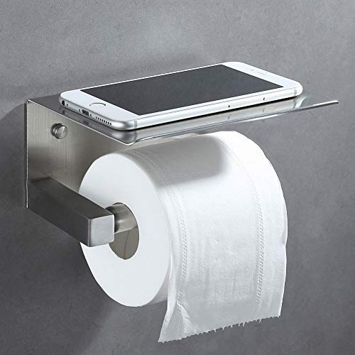 Angle Simple Spring Loaded Toilet Paper Holder with Shelf, SUS304 Stainless Steel Bathroom Tissue roll Holder,Lavatory Tissue Paper Roll Dispenser, Toilet Roll Hanger Wall Mount, Brushed Nickel by Angle Simple (Image #3)
