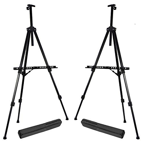 "T-Sign 66"" Reinforced Artist Easel Stand, Extra Thick Aluminum Metal Tripod Display Easel 21"" to 66"" Adjustable Height with Portable Bag for Floor/Table-Top Drawing and Displaying, 2 Pack"