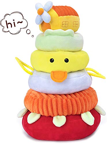 iPlay, iLearn Soft Plush Baby Toys, Safe First Stacking Rings, Sounds n Textures, Easy Grip Shaker, Learning Biting Gifts for 3, 6, 9, 12, 18 Months 1 Year Olds Newborn Infants Toddlers Kids Boy Girls