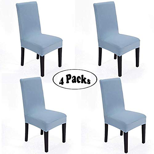 She Yang Spandex Fabric Stretch Removable Washable Dining Room Chair Cover Protector Seat Slipcovers Set Of 4 (Light Blue, 4) (Dining Chair Slipcovers Blue)