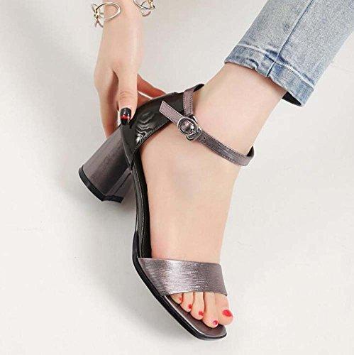 Grigio tacco fibbia con Estate e punta alto Nuova da Scarpe interno tacco a donna interno sandali SHINIK pelle con parola in YqwRSz1x