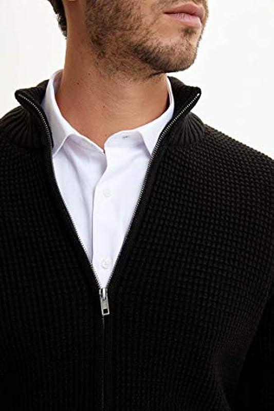 DeFacto Men's Zippered Knitted Cardigan: Odzież