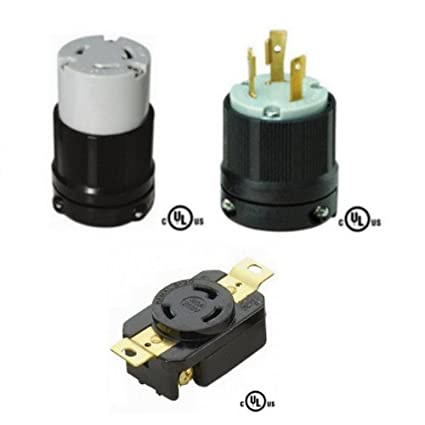 nema l6-30 plug, connector, and receptacle set - rated for 30a, 250v, 3-wire  - cul listed - - amazon com
