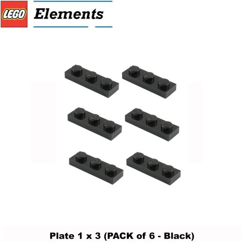 Lego Parts: Plate 1 x 3 (PACK of 6 - Black)