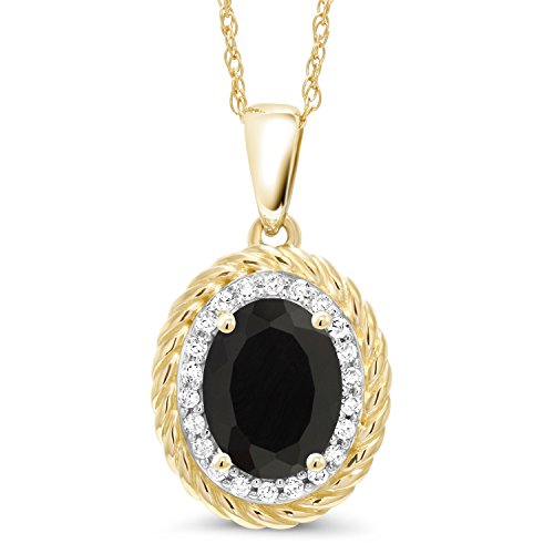 Black 14k Pendant Onyx - Gem Stone King 1.40 Ct Oval Black Onyx White Diamond 14K Yellow Gold Pendant