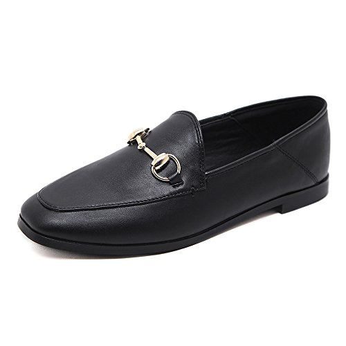 Flats Womens Toe Slip xiaoyang Shoes Ballet Square Black Bowknot On Comfort 8Zxp7gnp