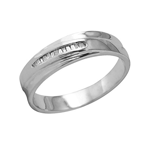 0.1 Carat Natural Diamond 14K White Gold Wedding Band for Men Size 10 (Diamonds Ct 0.1 Baguette)