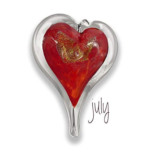 - Luke Adams Glass Small Heart July Birthstone