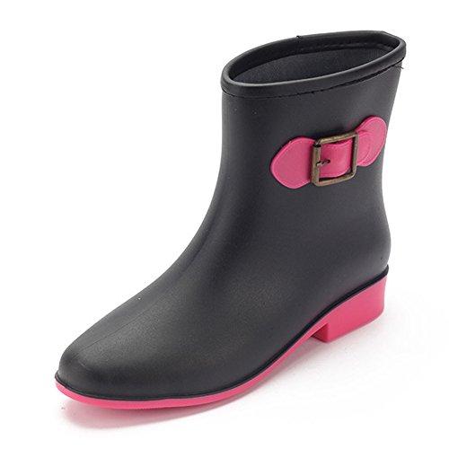 Boots fereshte Pull Waterproof Rain Fashion On Black Ankle Women's F77r04qwU