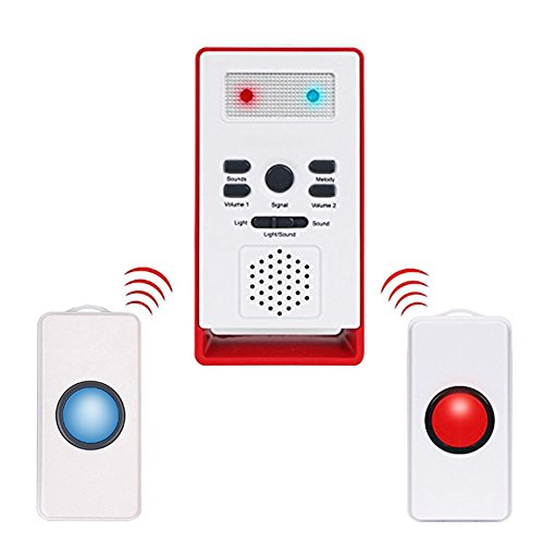 Gentman Caregiver Pager Wireless with Two Call Buttons Security Safety Caregiver Alert System for Nurses Elderly Disabled (Wireless Alert Intercom)