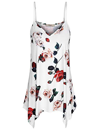 Cestyle Tunics for Women, Womens Camisoles and Tanks Floral Print Flare Irregular Hem Tops Designer Sleeveless Shirts for Work Office White Flower X-Large
